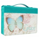 "Blue Botanic Butterfly Blessings ""Grace"" Bible / Book Cover - Ephesians 2:8 (Medium)"