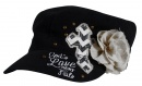 God's Love Never Fails, Cap with Flower, Black