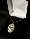 "Our Lady of Mt. Carmel 18"" Silver Plated Necklace"