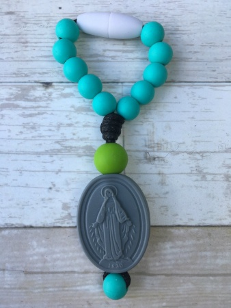 Turquoise Miraculous Medal Decade Clippie