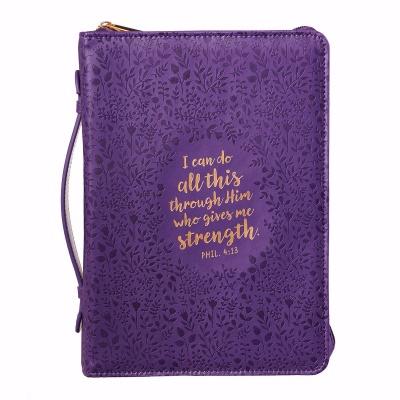 Phil. 4:13 Medium Bible Cover (Purple)