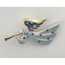 Two Tone Trumpeting Angel Pin