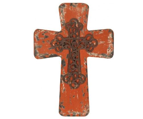 Vintage Distressed Wood Cross -Red